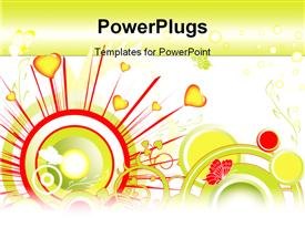 PowerPoint template displaying valentines background. depiction can be used as a postcard in the background.