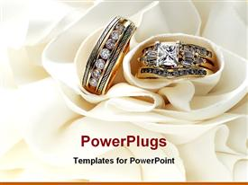 PowerPoint template displaying gold wedding bands wedding rings with diamonds on white soft material