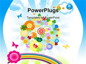 PowerPoint template displaying depiction for kids with planet earth and colorful flowers in the background.