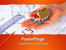 PowerPoint template displaying house on hand over the paper drawing of a house design