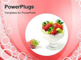 PowerPoint template displaying strawberries in a glass cup on a pink background