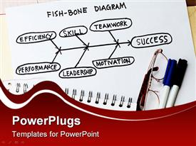 PowerPoint template displaying fish bone diagram flow chart, success, leadership success with eyeglasses and pens on the side