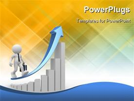 Human character person sitting at a round table and financial chart - diagram powerpoint design layout