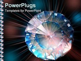 PowerPoint template displaying diamond sparkles in colorful lights in the background.