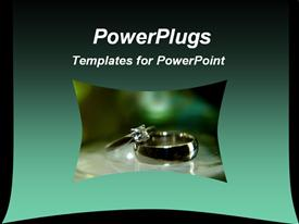 PowerPoint template displaying green and black background template is good for presentations on jewelry sales, wedding service in the background.