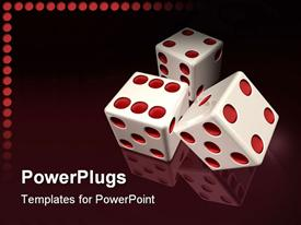 PowerPoint template displaying white casino dies with red dots in red background