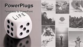 Dice with Life on top for the conceptual purpose of rolling the dice of your life template for powerpoint