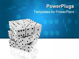 PowerPoint template displaying a number of dices together with bluish background