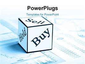 PowerPoint template displaying sell, buy and hold cube on stock market chart and report