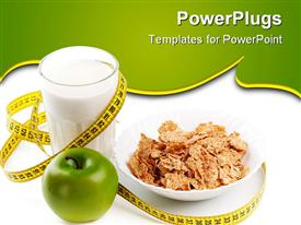 PowerPoint template displaying apple milk corn flakes and measuring tape. Concept of healthy food in the background.