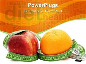 PowerPoint template displaying big red apple and an orange with a measuring tape round them