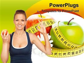 Apples flower and measuring tape. Concept of healthy food powerpoint theme
