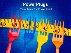 PowerPoint template displaying cA Diet Border or Background Depiction with Vibrant Forks and a Measuring Tape