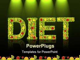 PowerPoint template displaying text DIET in green color with lots of fruits