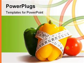 PowerPoint template displaying yellow peper with measuring tape around it with green pepper and red tomato