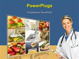 PowerPoint template displaying healthy food collage made from nine photographs in the background.