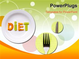 PowerPoint template displaying a plates , a knife and a fork