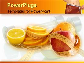 PowerPoint template displaying diet concept: fruits and meter in the background.