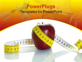 PowerPoint template displaying nutrition and diet theme with red apple surrounded by white and yellow measuring tape fitness and weight background