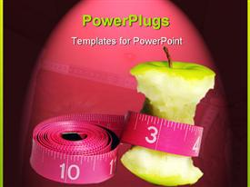 PowerPoint template displaying an eaten apple with measuring tape and pinkish background