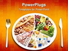 PowerPoint template displaying different types of food in a plate with a fork and knife on the side