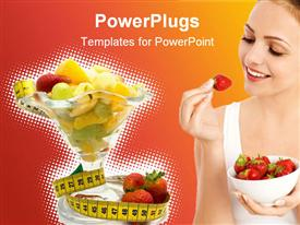 PowerPoint template displaying depictions with healthy and fresh looking fruits in the background.