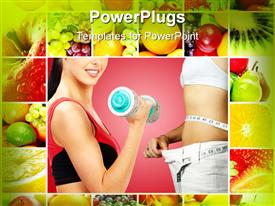 PowerPoint template displaying woman carrying dumb bell works on fitness and fresh fruits for diet