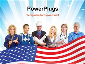 PowerPoint template displaying group of happy business people with different occupations