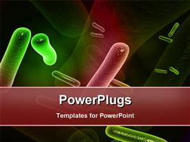 PowerPoint template displaying a number of bacteria with their reflection in the background