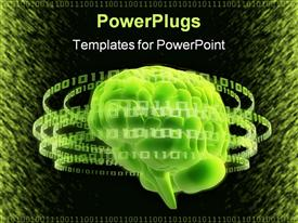 PowerPoint template displaying digital depiction of green brain gravitated by binary rings