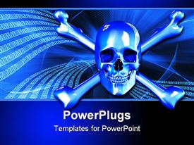 PowerPoint template displaying 2D render of a skull and crossbones with a background of binary digits