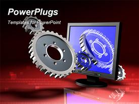 PowerPoint template displaying set of gears protruding from an lcd computer monitor