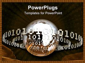 PowerPoint template displaying silver and bronze globe orbited by binary code rings on dark background