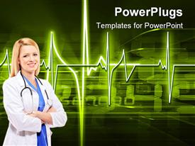 Glowing heartbeat pulse over top of streaming digital data powerpoint template