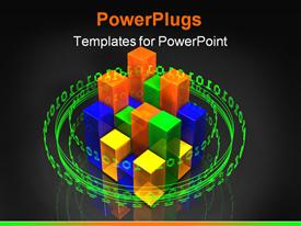 PowerPoint template displaying glowing ring of binary green digits orbiting