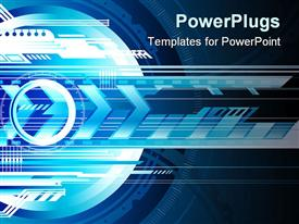 PowerPoint template displaying abstract futuristic depiction of technology with arrows and layers of 3D technology