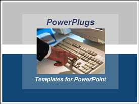 PowerPoint template displaying an adult male hand touching a white computer keyboard