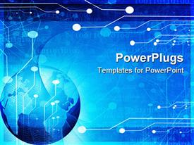 PowerPoint template displaying blue globe, circuit board background, world of technology