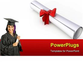 PowerPoint template displaying diploma with red ribbon