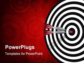 PowerPoint template displaying two red darts hitting the center of a black and white dart board