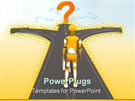 PowerPoint template displaying crash test dummy thinking where to go in the background.