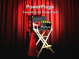 PowerPoint template displaying stage with directors chair and tools with red curtains behind