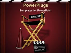 PowerPoint template displaying rendered director's chair in the background.