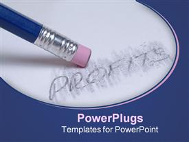 Blue pencil erases the word profit on a piece of paper template for powerpoint
