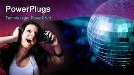 PowerPoint template displaying beautiful young lady with headphones listening to music