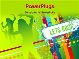 PowerPoint template displaying party depiction with silhouette of dancers and signpost reading LETS ROCK