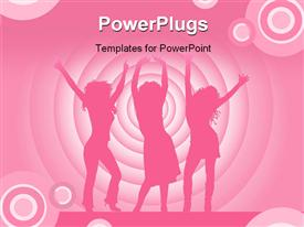 PowerPoint template displaying silhouette of people dancing on stage with colorful circles in background