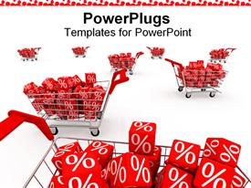 PowerPoint template displaying shopping carts with discount percent red cubes with white percentage sign