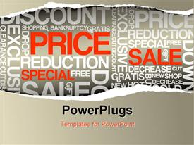 PowerPoint template displaying sale discount advertisement - Hole with texts (horizontal version) in the background.