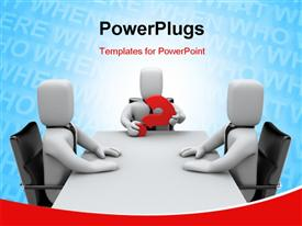 PowerPoint template displaying three white figures sitting around conference table with one member holding red question mark
